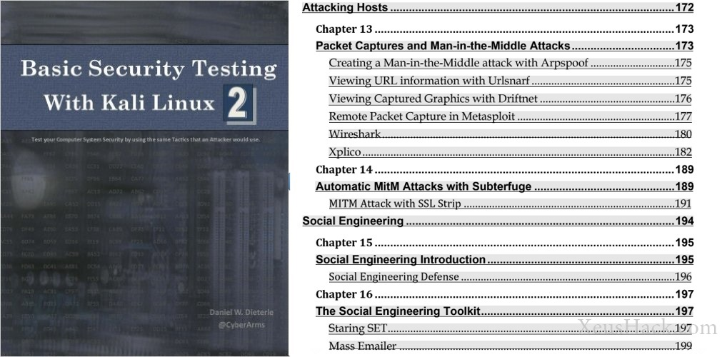 The cover and table of contents of the book: Basic Security Testing with Kali Linux 2