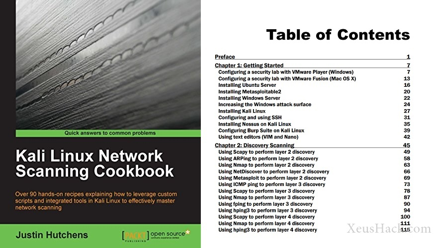 The cover and table of contents of the book: Kali Linux Network Scanning Cookbook