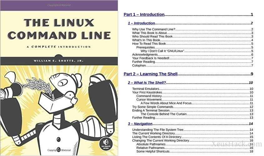 The cover and table of contents of the book: The Linux Command Line: A Complete Introduction