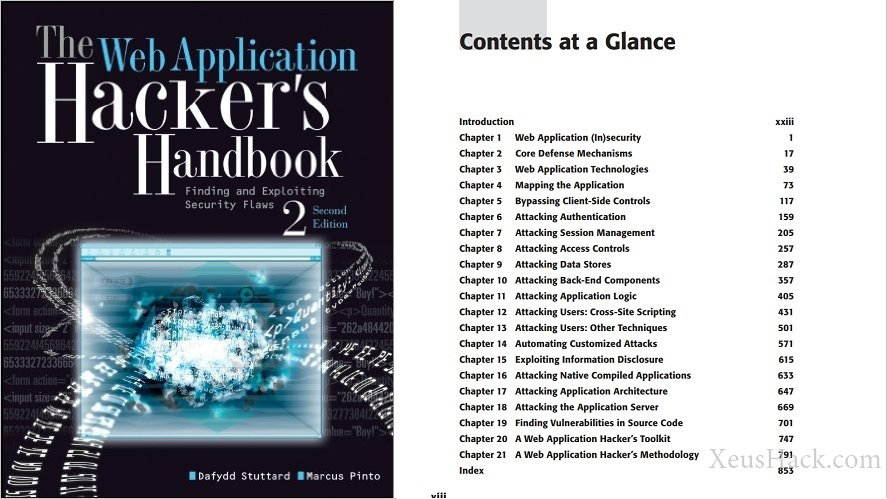 The cover and table of contents of the book: The Web Application Hacker's Handbook: Finding and Exploiting Security Flaws