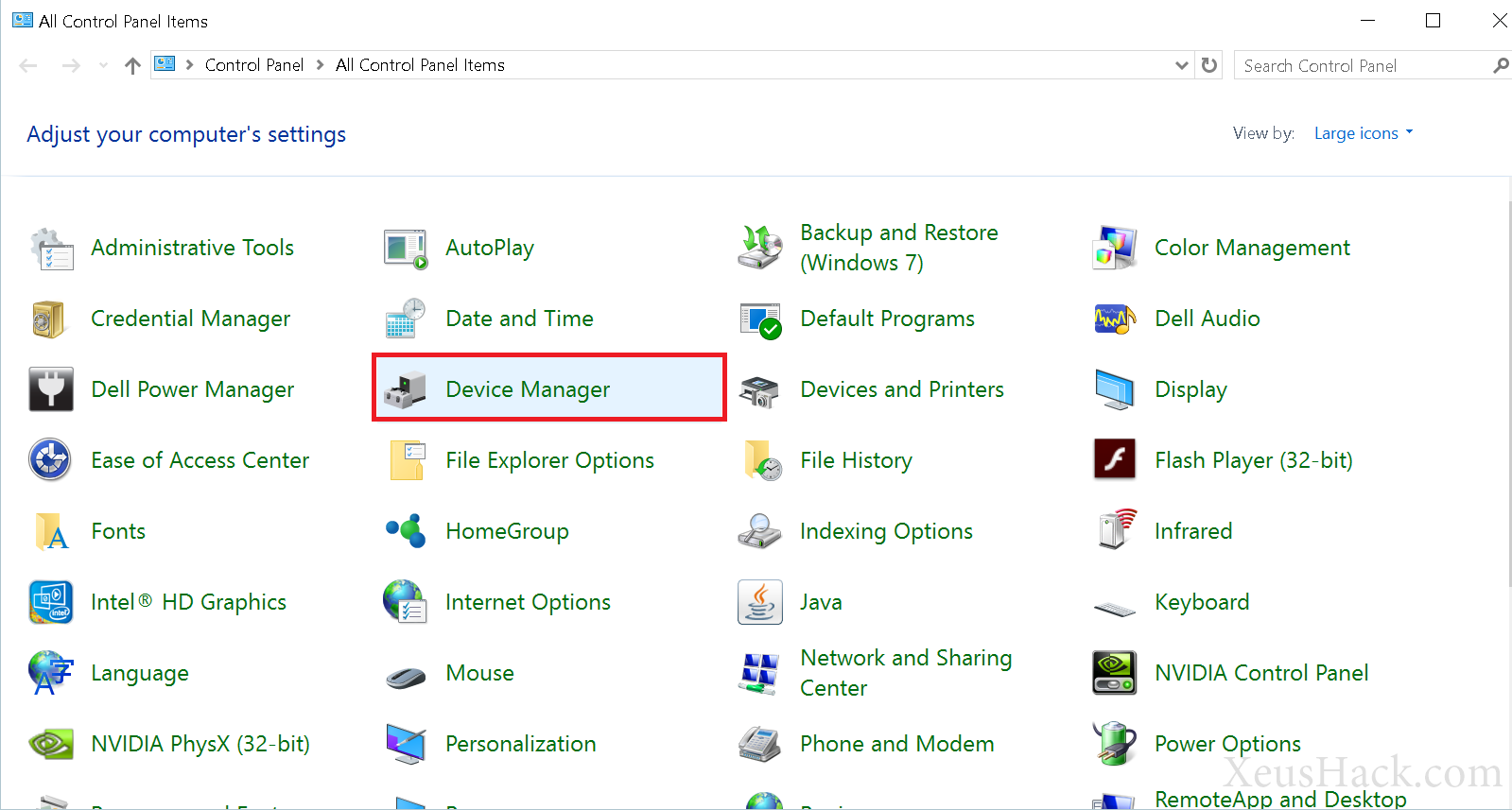 Open device manager from the control panel