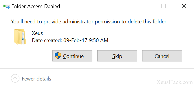 You need to provide administrator privileges to delete some folder