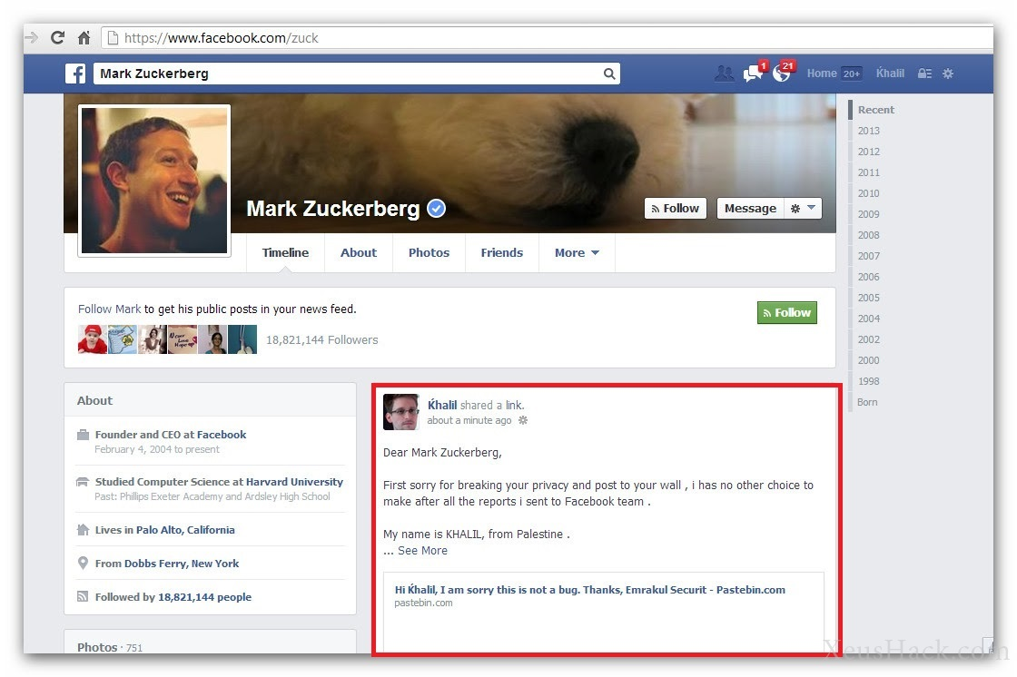 Palestinian hacker that posted on Mark Zuckerbergs Wall